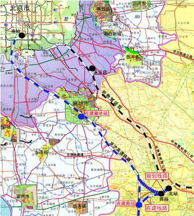 津承城际铁路路线图