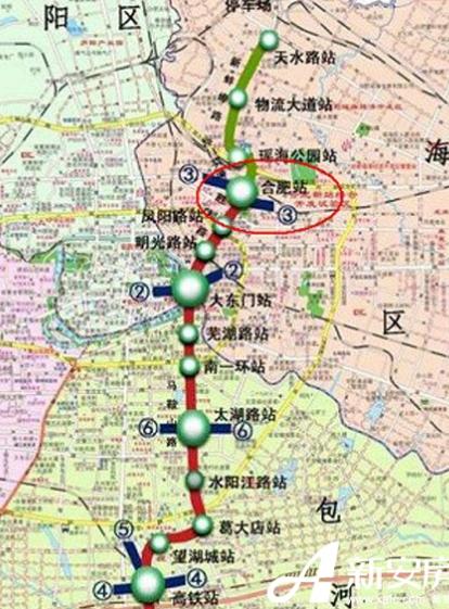 合肥地铁1号线线路图