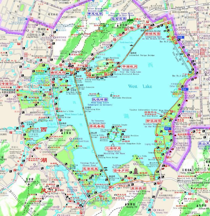 西湖十景地图 手绘